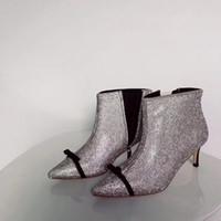weiße diamantaufladungen ferse großhandel-Marco De Vincenzo Stiefel Absatz 6.5cm Weißer Diamant Stiefel Damen Silver Diamond Stiefel Damen