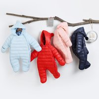 Wholesale baby kids one pieces clothes romper resale online - Retail winter newborn baby thickening down cotton warm romper jumpsuit clothes one piece Baby onesies jumpsuits kids designer clothes