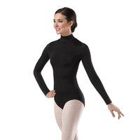 ingrosso leotard nero di lycra-Maglia manica lunga da donna manica lunga nero Ballet Dancewear Body in Lycra Spandex Body Tutina Costumi ginnastica ginnastica Unitard