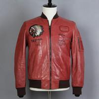 avirex vestes en cuir hommes achat en gros de-Avirex Sheepskin chef broderie modèle indien Véritable Leahter Veste Hommes Manteau de baseball cuir véritable moto Vêtements