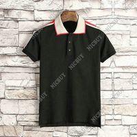 estilos de cuello de la camiseta para los hombres al por mayor-diseñador de verano ropa de marca hombres polo estilo clásico tela de bordado de rayas camiseta estampada camiseta casual cuello vuelto camiseta