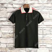 erkekler için t gömlek yaka stilleri toptan satış-Yaz tasarımcı marka giyim erkekler polo klasik stil şerit nakış kumaş mektubu baskı t-shirt rahat turn-down yaka tee gömlek