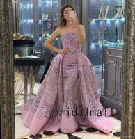 Wholesale gowns for sale - Group buy Dusty Pink Appliqued Lace African Evening Dresses Overskirts Elegant Satin Formal Party Gowns Dubai Arabic Mermaid Long Prom Dress Vestidos