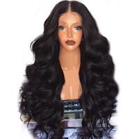 insan vücudu dalgası dolu peruk toptan satış-Yeni Moda Tam Peruk Brezilyalı Remy İnsan Saç Vücut Dalga İnsan Uzun Siyah Saç Peruk Kadınlar Için Güzel