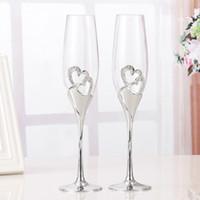 champanhe brindando vidros venda por atacado-2 pçs / set de cristal de casamento brindando taças de champanhe flautas bebida copa festa de Casamento Decoração de Vinho Copos Para Festas Caixa de Presente