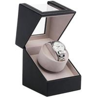 enchufe almacenamiento al por mayor-UE / EE. UU. / UA / Reino Unido Enchufe Mecánico Automático Reloj Caja de Bobinado Motor Agitador Reloj Devanadera Titular de Exhibición Joyería Organizador de Almacenamiento