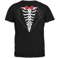 costume de corbeau noir achat en gros de-Funky T Shirts Costume squelette de smoking pour homme Noir Tee-shirt ras du cou pour adulte - T-shirt de bureau