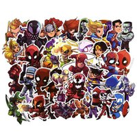 autocollants de super héros achat en gros de-Autocollants de voiture 50pcs MARVEL DC Super Hero DC Voiture Ordinateur Portable Bagages Carnet de notes Graffiti Decal Réfrigérateur Planche À Roulettes Skidboard Spiderman Batman Superman Iron Man