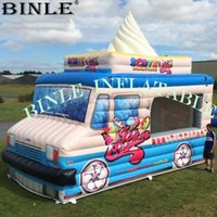Wholesale food advertising for sale - Group buy Outdoor portable mx3mH inflatable ice cream car with digital printing inflatable food booth tent for advertising