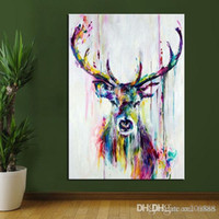 Wholesale wall art canvas modern resale online - Hand Painted HD Print Modern Abstract Animal Art painting Deer Home Wall Decor On Canvas Multi sizes Frame Options A142