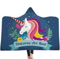 ingrosso cappelli caldi degli animali-bambini Unicorno con cappuccio Coperte Sherpa Cloak Dream Unicorn Series con cappuccio Coperta 3D Animal Printed Winter Warm con pile Coperta con cappello KKA6238
