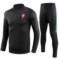 Wholesale train clothing resale online - 2018 PORTUGAL Thailand soccer tracksuit PORTUGAL Training suit pants football training clothes sportswear mens Sweater suit