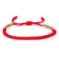 tibetische armbänder rot großhandel-Mode Tibetischen Buddhistischen Liebe Glücksbringer Armbänder Verstellbare Rote Armbänder Für Frauen Männer Handgemachte Knoten Seil Budda Armband