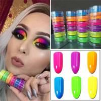 buz tozu toptan satış-Göz farı Toz 1 takım içinde 6 renkler Neon Göz Farı Tozu Güzellik Göz kozmetik Nail Art Toz