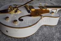 jazz guitarra hueco cuerpo f agujeros al por mayor-Coleccionable Guitarra ideal G6120 Sparkle Gel de Oro Encuadernación Guitarra Halcón blanco jazz eléctrico del cuerpo hueco doble F agujero Bigs puente trémolo