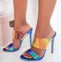 saltos altos de tiras azuis venda por atacado-Shinny azul prata tiras saltos de estilete sandálias sapatos de mulheres de luxo do desenhador vêm com o tamanho da caixa de 35 a 40