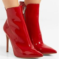 Wholesale bright boots resale online - Sexy Ladies Bright Red Patent Leather Ankle Boots Women Pointed Toe Stiletto Heels Spring Motorcycle Bottines Mujer Zapatos