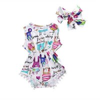 Wholesale painting baby girl resale online - Baby Girls Infant Newborn Toddler Kids Painting Cotton Tassels Sleeveless Bodysuit Playsuit Headband Jumpsuit Sunsuit Outfit