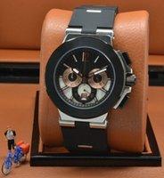 enlace reloj de cuarzo al por mayor-Outdoor Exquisite Man Watch 42MM Quartz Chronograph Relojes para hombre Bisel negro con correa de goma negra con eslabones de acero inoxidable