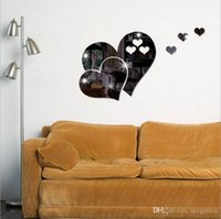 Wholesale decorating wall stickers resale online - 3D stereoscope heart shaped wall sticker lovely DIY home art murals decorate the room