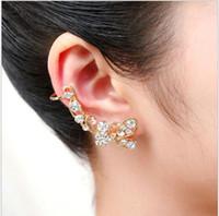 Wholesale miao butterfly earrings for sale - Group buy Korean jewelry has ear needles Butterfly rhinestone ear clips Fashion long single sided ear bone clip earrings