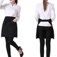 талии кухонные фартуки оптовых-Black Universal Unisex Kitchen Cooking Hotel Chef Aprons Chef Uniforms Waist Apron Short Apron Waiter With Double Pockets