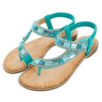 Ladies Summer Shoes Bohemian Style Blue Red Fashion Sandals Women Lattice Stripe Flat soled Beach Shoes Zapatos De Mujer