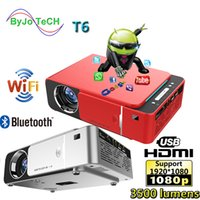 ingrosso teatro home android-UNIC NEW T6 Full 1080P Proiettore Android 7.1 WIFI 2.4G 5G 3500 lumen Home Theater Beamer Supporto AirPlay DLNA Miracast Proyector