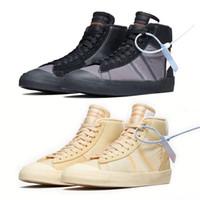 ingrosso riso nero-Con Box 2018 Blazer Shoes Sneakers Mid Basketball Sports Trainers Ror Uomo Donna Nero Bianco Riso Skateboard Shoe