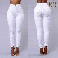 nuevos jeans mujer negro al por mayor-Nueva llegada Jeans delgado para las mujeres flacas altura de la cintura del color del caramelo del dril de lápiz pantalones elásticos de la cintura Sexy Negro Trabajo Partido Pantalones Tamaño S-2XLB3