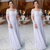 Wholesale mothers dresses for winter wedding for sale - Group buy Modest Lilac Chiffon Long Sleeve Mother of the Bride Groom Dresses for Wedding Lace Appliques Sequins Women Formal Evening Gowns Wear
