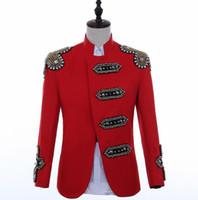 hip hop elbise tasarımları toptan satış-Hip hop ceket erkek tasarımları ceket erkek şarkıcılar giysi dans yıldızı tarzı elbise punk rock masculino kırmızı kostüm sahne uyan