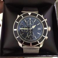 relógio mens dos homens de aço inoxidável 46mm venda por atacado-Novo relógio do desenhador dos homens superocean herança cronógrafo VK quartzo vingadores 46mm mens relógios em aço inoxidável pulseira de luxo masculino relógio de pulso