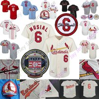 ingrosso sala dei bambini-Stan Musial Jersey St. Louis Cooperstown Baseball Hall of Fame pulsante HOF Patch Pullover Uomini Donne gioventù Kid