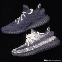 ingrosso scarpe da uomo nero-TOP Authentic 350s V2 Nero Static Pirate Laccio Riflettente Donna Scarpe da Corsa Per Uomo Kanye West Sport Sneakers Con Scatola