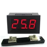 amperímetro de derivación al por mayor-Freeshiping 4 UNIDS Pantalla LED Amperímetro Digital DC0-50A 12V 24V 28V Amp Panel Meter Detector de Corriente Con 50A / 75mV Resistencia Shunt Envío Gratis