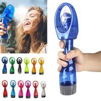 Wholesale water spraying fans resale online - Mini Handheld Spray Fan Portable Hand Held Water Spray Cooling Mist Fan Bottle Mist Sport Travel Beach Camping Small Electronic Sprayer Fan