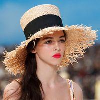 viseiras de palha para mulheres venda por atacado-2019 chapéu de palha do verão das mulheres Fedoras sombrero mujer Panamá alta chapéu alto praia cilindro do vintage elegante viseira aba larga