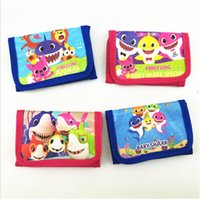 Wholesale boys long wallet resale online - INS Kids Baby Shark Wallets Cartoon Animal Trifold Wallets Coib Bags Purses Boys Girls Handbag Soft Long Pouch Children Party Gifts B7031