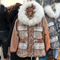 ingrosso pizzo coreano di nuovo stile di inverno-Harajuku Style Parka Donne 2019 New coreano moda inverno spesso grande collare Lace-up Jacket Wasit cappotto di inverno delle donne in pelliccia sintetica