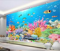 Wholesale wall wallpapers hd resale online - 3d wallpaper custom photo mural Ultra HD Undersea Reef TV Background Wall landscape d home improvement