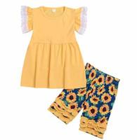 robes de fille de fleur de coton jaune achat en gros de-nouvelles filles en dentelle coton jaune JAUNE robes enfants SUN FLOWER PRINT à volants SHORT pantalon 2pc set 2-7ans navire gratuit