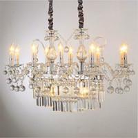 Herrliche Rechteck Kristallleuchter Licht Leuchte E14 E12 Beleuchtung Glas Kronleuchter Beleuchtung Luster Hanging Esszimmer Drop Deckenleuchte