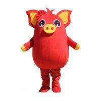 vestido de porco venda por atacado-2019 venda quente porco amarelo porco vermelho mascote partido traje jogo adulto dress parade animal de aniversário