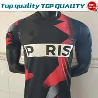logo de camisetas de futbol al por mayor-Nuevo logo # 7 MBAPPE negro rojo Camisetas de fútbol 19/20 # 10 NEYMAR JR # 6 VERRATTI # 9 Camisetas de fútbol CAVANI Hombres Uniformes de fútbol