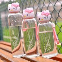 Wholesale hot girls bicycles for sale - Group buy Pink Kitty Sports Water Bottle Cute Lovely Glass Bottle for water for Girls Student with Grip Strap Cover Drinkware