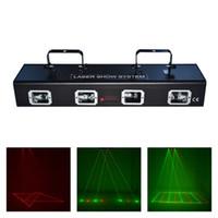 sistema de escáner láser al por mayor-AUCD 4 Lente Rojo Verde Láser 7CH DMX DPSS Equipo de escáner Proyector de iluminación de escenario DJ Party Disco Show System Light DJ-505RGRG