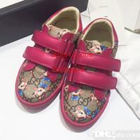 детская обувь из натуральной кожи оптовых-Toddlers Shoes Дизайнерские Детские Кроссовки из Натуральной Кожи Toddler Boys Shoes Высокое Качество Desinger детские Кроссовки Toddlery Обувь для Девочек