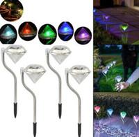 lampes de paysage achat en gros de-Énergie solaire de jardin lumières forme de diamant voie imperméable voie pelouse paysage voie nuit lampes lumière pelouse LJJK1531