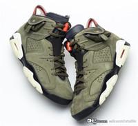 basketbol ayakkabıları yeşil renkte toptan satış-Otantik Travis Scott x Hava Kaktüs Jack 6 Orta Zeytin KOYU GLOW Ordu Yeşil Süet 3 M 003jordan Basketbol Ayakkabıları CN1084-200